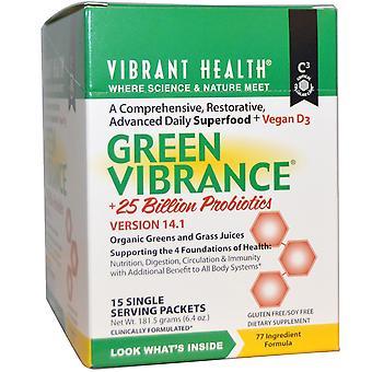 Vibrant Health, Green Vibrance +25 Billion Probiotics, Version 14.1, 15 Packets,
