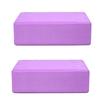 Ganvol Pack of 2 Yoga Blocks, High Density EVA Foam Pilates Brick, 23x15x7.5cm 200g, Purple
