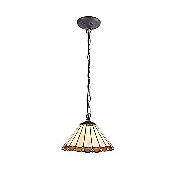 Luminosa Lighting - 1 Light Downlighter Sufit Wisiorek E27 z 30cm Tiffany Shade, Bursztyn, Kryształ, W wieku Antyczny Mosiądz