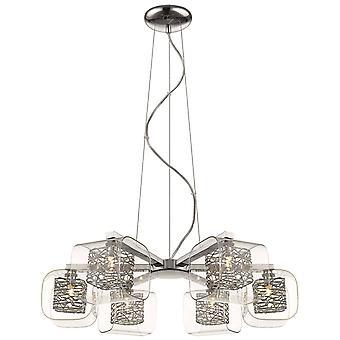 6 Light Multi Arm Ceiling Pendant Mesh Chrome Glass Six, G9