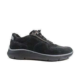 Waldläufer Haris 953H01 500 340 Black Nubuck Leather Mens Wide Fit Shoes