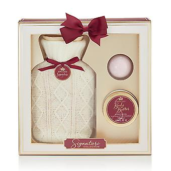 Style & Grace Signature Hotwater Bottle Home Comfort Bath Set - 120ml Body Butter, 50g Bath Fizzer, Hot Water Bottle with Cover