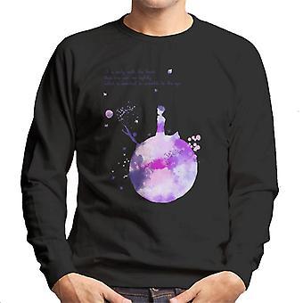 The Little Prince Purples Paint Effect Heart Quote Men's Sweatshirt