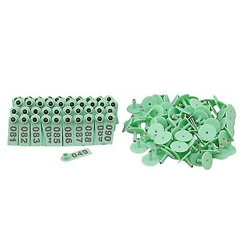 100Pcs Green Ear Tag with 1-100 Number for Sheep Pig Livestock