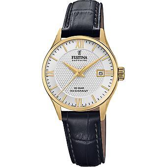 Festina Swiss F20011-1 Women's Gold Tone Case Black Leather Wristwatch