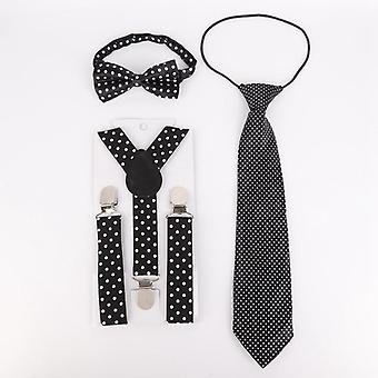Children's Polka Dot Elastic Band Students Bow Tie And Necktie Kit 0-15y Baby