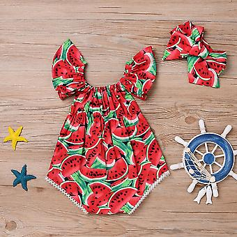 2pcs Newborn Baby Girl Watermelon Summer Cute Bodysuit Jumpsuit Outfit