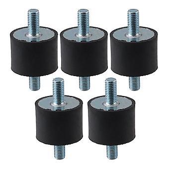 5x Black D40mm H30mm Double Ends Screw Anti-Vibration Silentblock M10