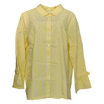 Belle by Kim Gravel Women's Plus Top Stripe Button Bow Slv Yellow A303499