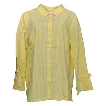 Belle af Kim Gravel Kvinder's Plus Top Stripe Button Bow Slv Gul A303499