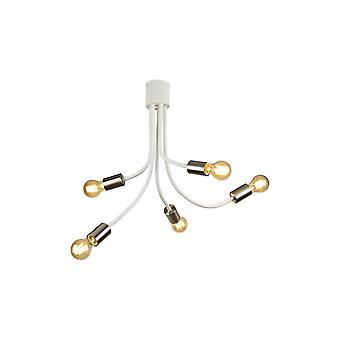 Owen Flexible Ceiling 5 Light E27 Satin Blanc/Satin Nickel