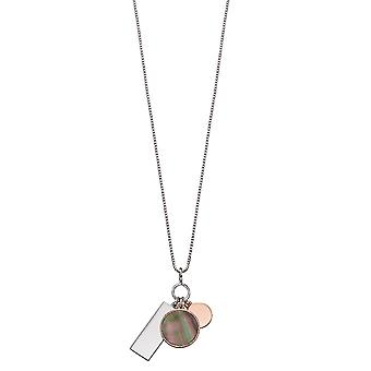 Fiorelli Silver Womens 925 Sterling Silver Grey Mother of Pearl & Rose Gold Multi Charm Ketting van lengte 41cm + 5cm