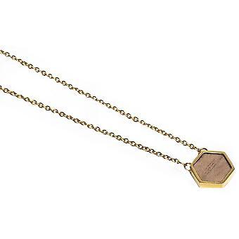 Collar BeWooden Apis Hexagonal - Oro/Marrón
