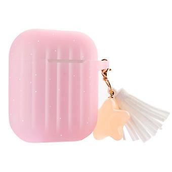 Charmant liukumaton silikonikotelo Apple AirPods Pink & White -kuulokkeille
