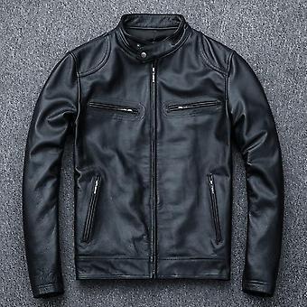 سترة جلد الغنم الناعمة، الرجال سليم حقيقية معطف الجلود ملابس راكب الدراجة النارية الخريف