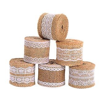 6 Pieces Natural Handicraft Tape Roll With White Lace For Diy Manufacturing Wedding Craft Lace Linen 78.7 Inches (2 Meters)