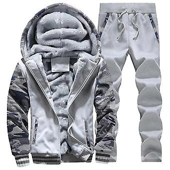 Men Sporting Fleece Thick Hoodie Brand-clothing Casual Tracksuit Jacket+pant