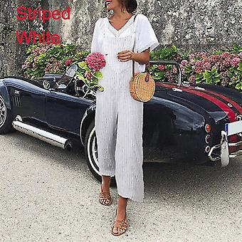 Sexy Sleeveless Straps Salopettes Summer Wide Leg Trousers Solid Romper