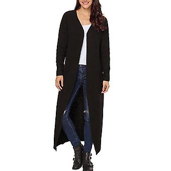Open Front Pockets Long Cardigans