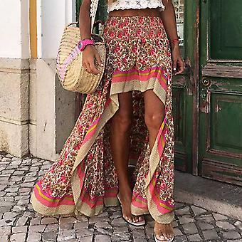 Φούστες Γυναίκες, Ακανόνιστο Maxi Βαμβάκι, Floral Καλοκαιρινή Φούστα