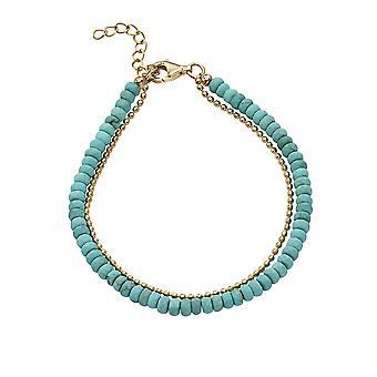 Débuts 925 Sterling Silver Ladies' Or plaqué Argent & Blue Magnesite Stone Double Row Bracelet de longueur 19-22cm