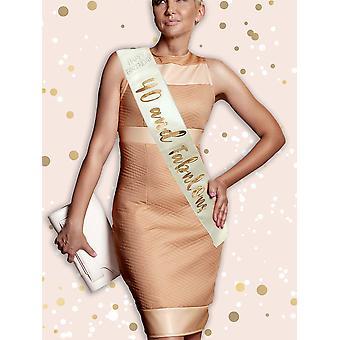 Alandra birthdays rgs-40 40th cream & rose gold metallic birthday sash, one size