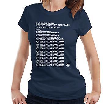 Jurassic Park System Sicherheit Schnittstelle Frauen's T-Shirt