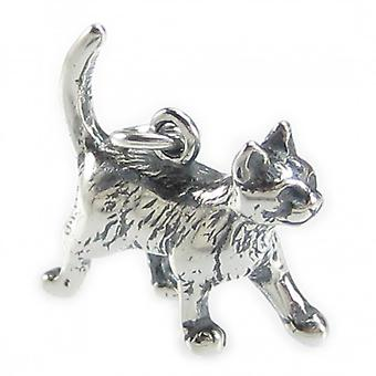 Pussy Cat Sterling Silver Charm .925 X 1 Puss Cats Charms --sfp - 8413