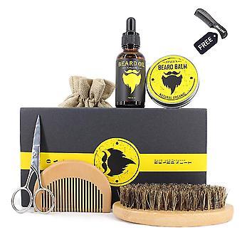 6pcs/set Men Beard Kit Grooming Beard Set Barba Beard Oil