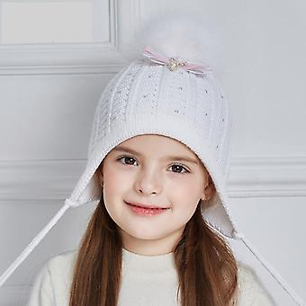 Bow-knot Dzianina Baby Rhinestones Pearl Winter Hats for Thick Cotton Caps