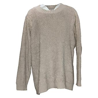 LOGO by Lori Goldstein Women's Sweater Plus Mixed Media Gray A385274