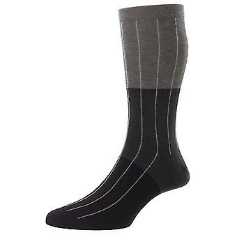 Pantherella Pyrus Colour Block Pinstripe Fil D'Ecosse Socks - Dark Grey Mix