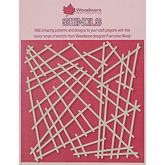 Woodware 6 x 6 Stencil - Rikkinäinen verkko