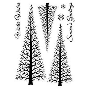 Holzgeschirr klar Singles Winter Wald 4 in x 6 in Stempel