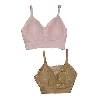 Rhonda Shear 2-pack Lace Leisure Bra Amovible Pads Beige / Rose 715472