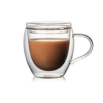 Double Wall Insulated Glasses Espresso Mug With Lid