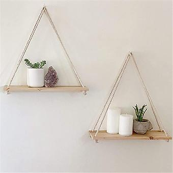 Premium Wood Swing Hanging Rope Wall Mounted Floating Shelves