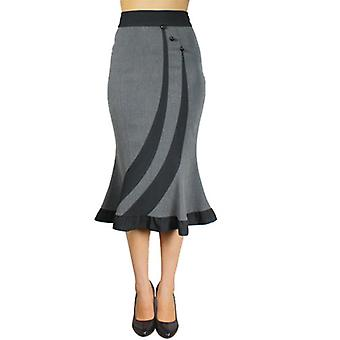 Chic Star Fitted Flared Skirt In Grey