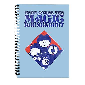 The Magic Roundabout Retro Blue Tone Diamond Spiral Notebook