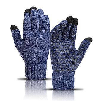 Winter Men Knitted Gloves Touch Screen Non-slip Rubber