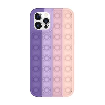 Lewinsky iPhone 12 Pop It Case - Silicone Bubble Toy Case Anti Stress Cover Pink