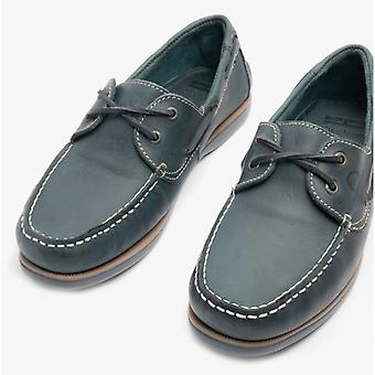 Chatham Whitstable Mens Leather Boat Shoes Navy