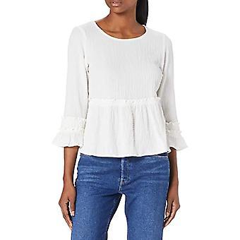 Only ONLHENRIETTA 7/8 Peplum Top Wvn T-Shirt, Cloud Dancer, L Woman