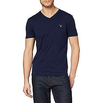 GANT The Original Slim V-Neck T-Shirt, Blue (Evening Blue 433), Small Man