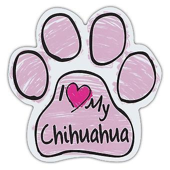 """المغناطيس ، الكلب باو ، خربشة الوردي ، وأنا أحب بلدي Chihuahua ، 5.5 """"X 5.5"""""""