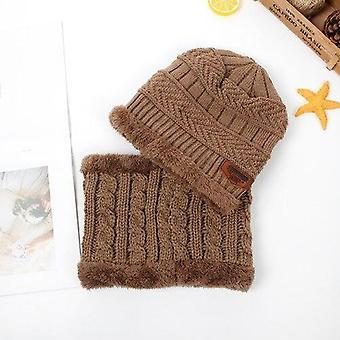 Børn Vinter strikket Beanie hat og tørklæde Sæt