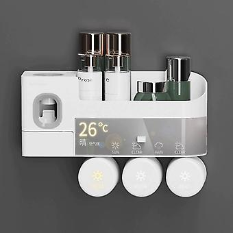 Toothbrush Holder With Cups Toothpaste Squeezer Dispenser Punch free Storage Rack