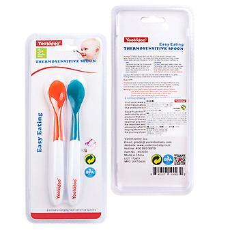 2 יח' כף להחלפת צבע חישת טמפרטורה לילדים, כף תוסף מזון לתינוקות