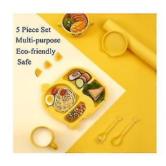 5 Piece Kids Dinnerware Set, малыш плиты и чаши Установить, экологические Дети Utensils