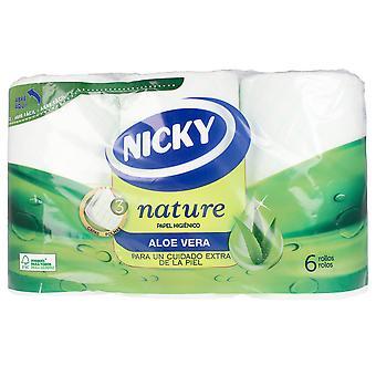 Nicky Nature Aloe Vera Papel Higiénico 3 Capas X 6 Rollos Unisex